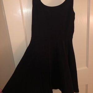 Black cotton skater dress